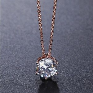 Jewelry - Rose Gold CZ Pendant Necklace.